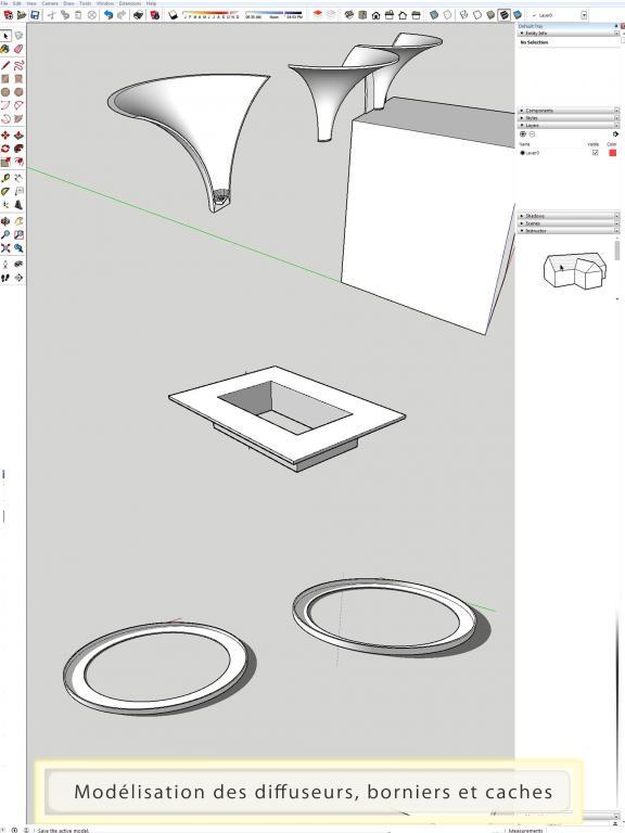 conception caches, bornier et diffuseurs